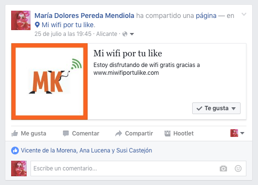 Wifi post y chekin en el muro de Facebook